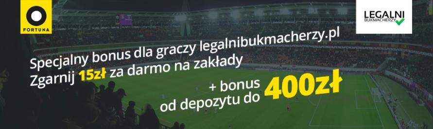 Pakiet Premium - 15 złotych bez depozytu + 100% do 400 PLN (kod promocyjny: EKSTRAKASA)