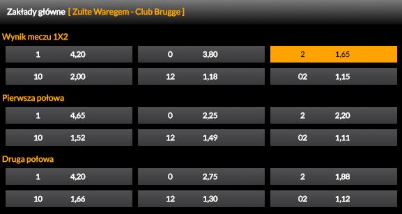 Zulte Waregem – Club Brugge: Typ Dnia 30.11.2017 | Kurs 1.65