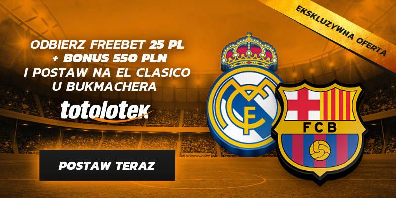 Totolotek oferta bukmacherska na Real Madryt - Barcelona