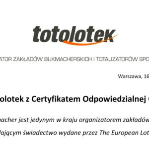 Certyfikat Odpowiedzialnej Gry ponownie trafił do Totolotka