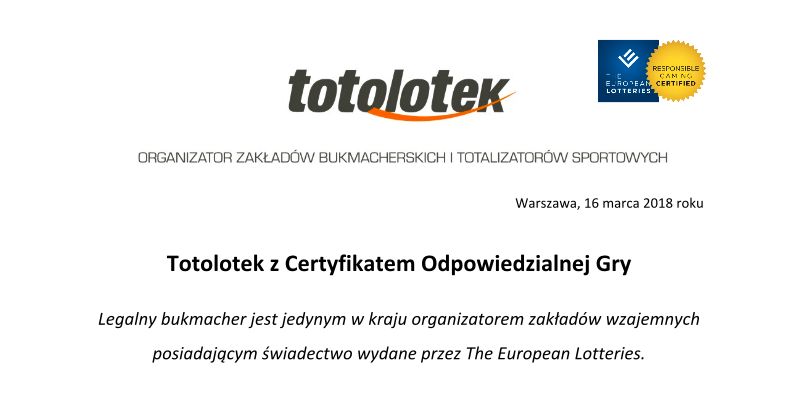 Bukmacher Totolotek z certyfikatem The European Lotteries