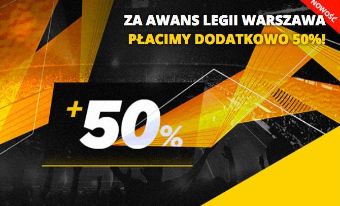 Za awans Legii Warszawa LV BET płaci dodatkowo 50%