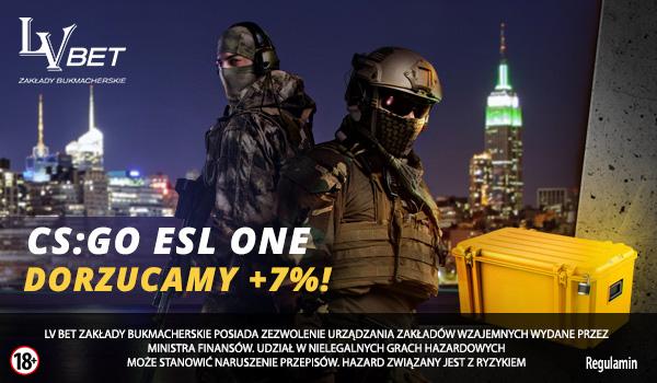 Odbierz 7% więcej na zakłady CS:GO ESL ONE w Nowym Jorku od LVBET