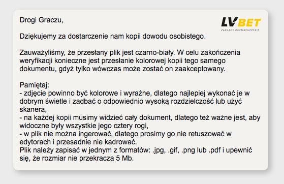 Skan dowodu w czasie rejestracji na LV BET