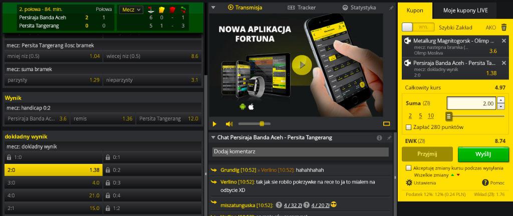 Zakłady bukmacherskie live - Fortuna