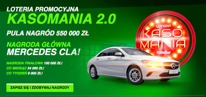 Kasomania 2.0 w Totalbet. Do wygrania 550 000 PLN i mercedes
