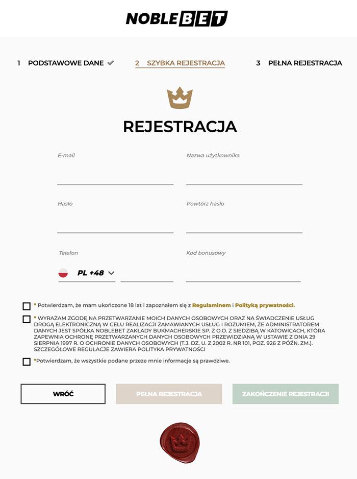 Rejestracja Noblebet krok 2
