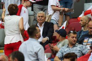 Jerzy Engel na meczu Polska Izrael
