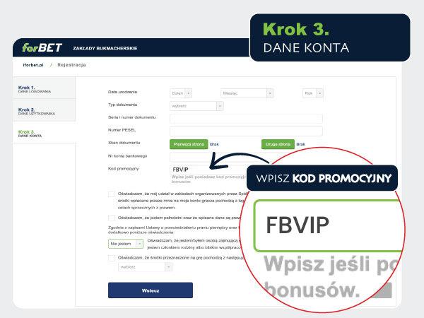Kod promocyjny w formularzu forbet